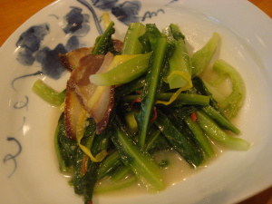 台湾蕹菜の炒め物@桃の木
